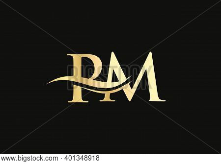 Premium Letter Pm Logo Design With Water Wave Concept. Pm Letter Logo Design With Modern Trendy