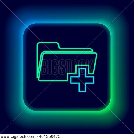 Glowing Neon Line Add New Folder Icon Isolated On Black Background. New Folder File Sign. Copy Docum