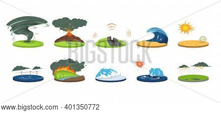 Natural Disasters Cartoon Vector Illustration Set. Extreme Weather Conditions. Catastrophe, Cataclys
