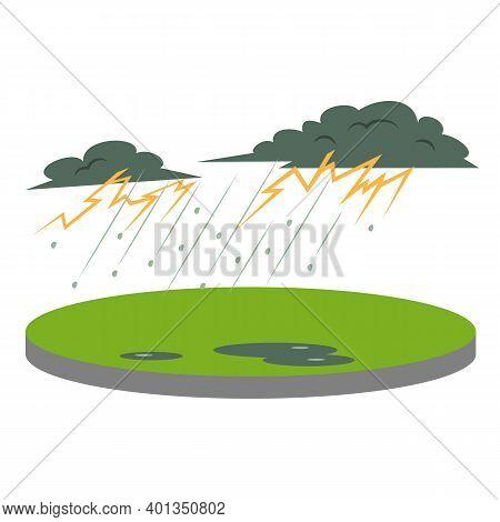 Thunderstorm In Rural Area Cartoon Vector Illustration. Thunder And Lightning. Heavy Rain And Hail.