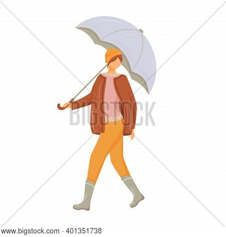 Woman In Pullover And Jacket Flat Color Vector Faceless Character. Walking Caucasian Lady In Gumboot