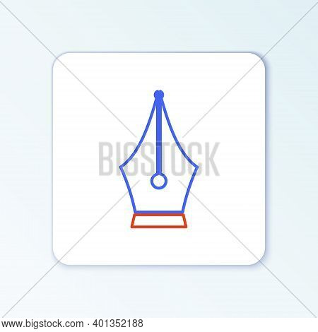 Line Fountain Pen Nib Icon Isolated On White Background. Pen Tool Sign. Colorful Outline Concept. Ve