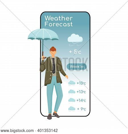 Weather Forecast Cartoon Smartphone Vector App Screen. Mobile Phone Display With Flat Character Desi