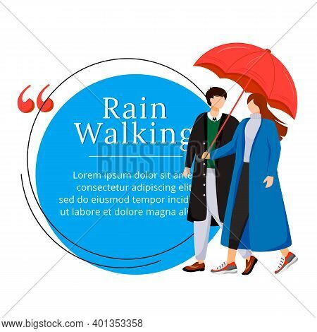 Rain Walking Flat Color Vector Character Quote. Couple With Umbrella. Wet Weather. Wet Day. Romantic