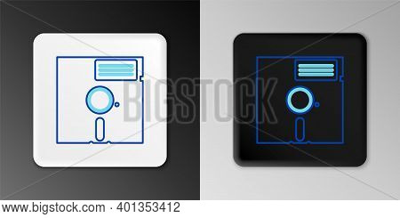 Line Floppy Disk In The 5.25-inch Icon Isolated On Grey Background. Floppy Disk For Computer Data St