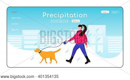 Precipitation Landing Page Flat Color Vector Template. Caucasian Lady Walking Dog Homepage Layout. R