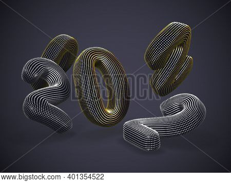Scattered 3d Golden And Silver Numbers On Gray Background. Floating Digital Numbers Made Of Yellow D
