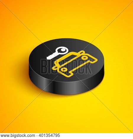 Isometric Line Car Rental Icon Isolated On Yellow Background. Rent A Car Sign. Key With Car. Concept