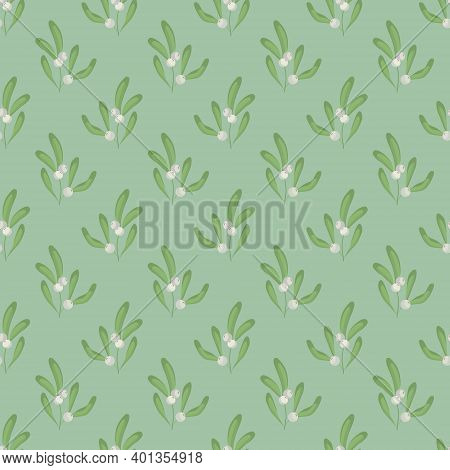 Vector Seamless Pattern With White Mistletoe; For Wrapping Paper, Packaging, Etc.