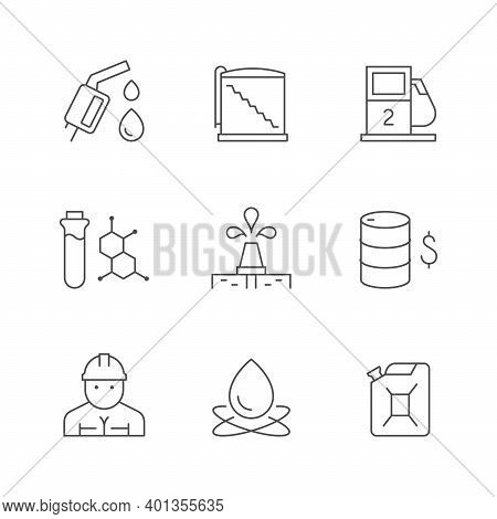 Set Line Icons Of Oil Industry Isolated On White. Rig Or Derrick, Gas Pump, Barrel, Worker, Storage