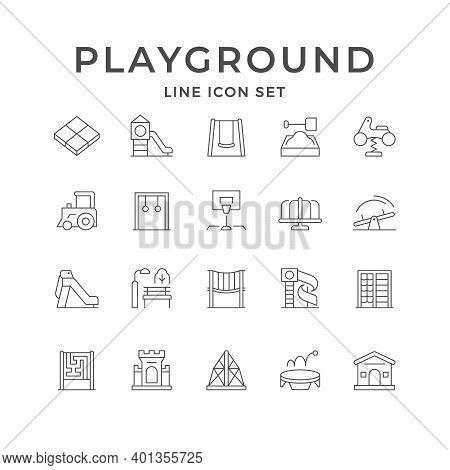 Set Line Icons Of Playground Isolated On White. Swing, Sandbox, Spring Rider, Basketball Equipment,