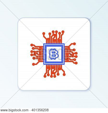 Line Processor Icon Isolated On White Background. Cpu, Central Processing Unit, Microchip, Microcirc