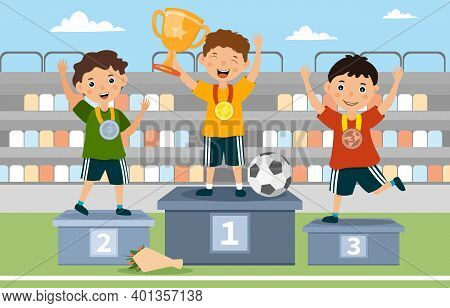 Three Young Boys On The Winners Podium Cheering And Waving After Winning A Sporting Competition With
