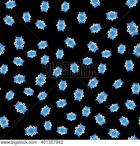Line Genetic Engineering Icon Isolated Seamless Pattern On Black Background. Dna Analysis, Genetics