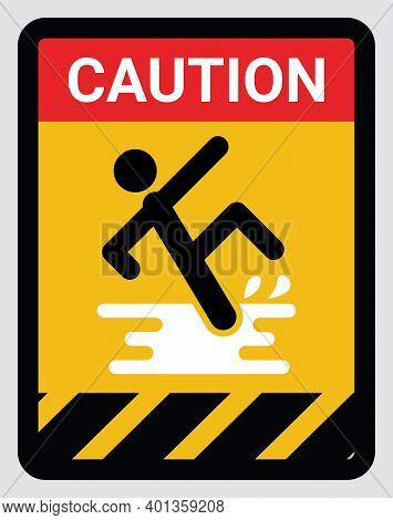 Wet Floor And Cleaning In Progress Sign. Warning Yellow Rounded Square Symbol With Man Falling On Sl