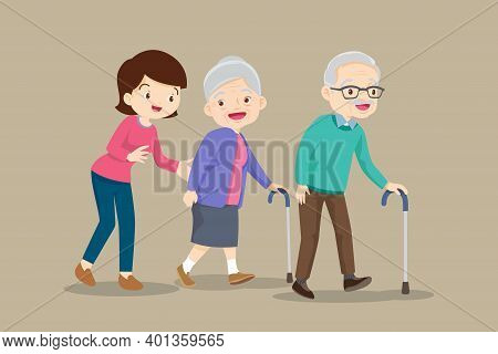 Woman Help Elderly Couple Walking By Cane. Grandmother With Walk And Grandfather By Cane Be Happy.ol