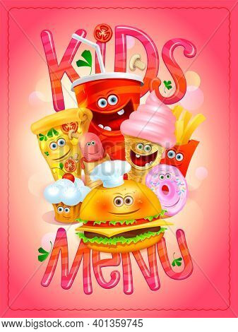 Kids menu cartoon card with soda drink, ice cream, pizza, hot dog, french fries, hamburger, muffin and donut, raster version