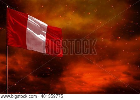 Fluttering Peru Flag Mockup With Blank Space For Your Data On Crimson Red Sky With Smoke Pillars Bac
