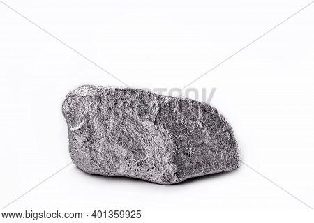 Platinum Nugget On White Isolated Background, Valuable Stone, White Gold