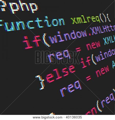 Page with php code. Vector illustration.
