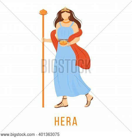 Hera Flat Vector Illustration. Ancient Greek Deity. Goddess Of Marriage, Childbirth. Queen Of Olympi