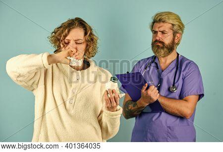 Sick Patient. Medical Help. Virus Infection Symptoms. Medical Treatment. Effective Cures. Doctor Com