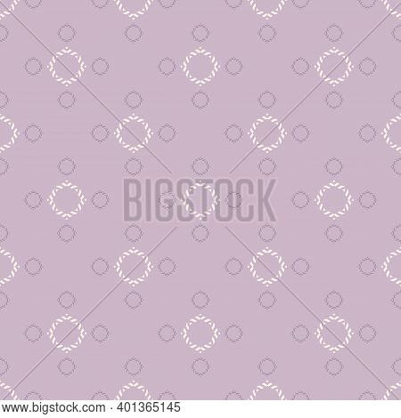 Vector Ornamental Seamless Pattern. Elegant Lilac Geometric Ornament Texture With Small Flower Silho