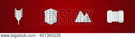 Set Wheat, Signboard With Glass Of Beer, Mountains And Accordion Icon. Vector