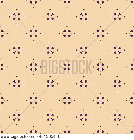 Abstract Geometric Floral Seamless Pattern. Simple Vector Minimalist Texture With Small Flower Silho