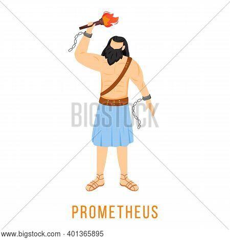 Prometheus Flat Vector Illustration. Titan, Hero. Creator Of Humanity. Ancient Greek Deity. Mytholog