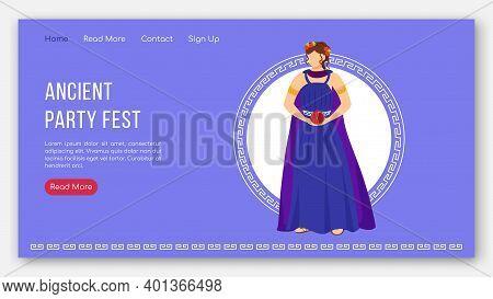 Ancient Party Fest Landing Page Vector Template. Greek Myth Gods. Persephone Mythology Website Inter
