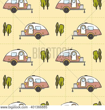 Seamless Pattern Of Hand-drawn Caravan Trailer And Trees. Retro Campers. Vector Illustration On The