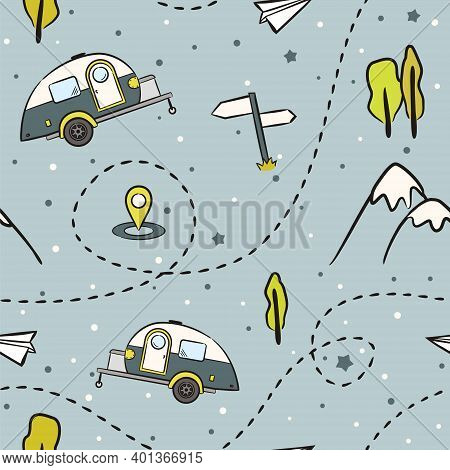 Seamless Pattern Of Hand-drawn Caravan Trailer, Mountains And Trees. Retro Campers. Vector Illustrat