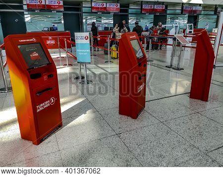 Turkey, Ankara - October 24, 2019: Turkish Airlines Red Self-service Terminals At Ankara Esenboga Ai