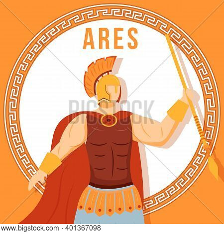 Ares Orange Social Media Post Mockup. Ancient Greek God. Mythological Figure. Web Banner Design Temp