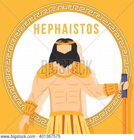 Hephaistos Orange Social Media Post Mockup. Ancient Greek God. Mythological Figure. Web Banner Desig