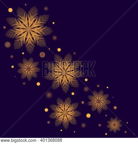Greeting Card Design With Glowing Golden Snowflakes On Dark Blue Background. Winter Holidays Banner,