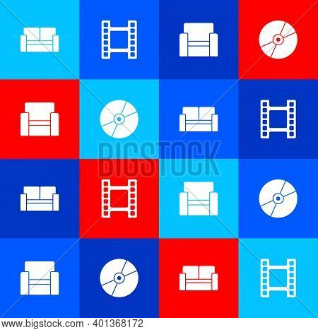 Set Cinema Chair, Play Video, And Cd Or Dvd Disk Icon. Vector