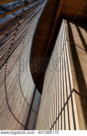 Berlin, Germany - July 28, 2019: Chapel Of Reconciliation. Interior Gallery Covered With Wooden Latt