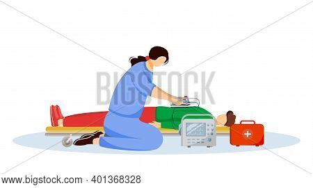 Emergency Doctor Giving First Aid With Defibrillator Flat Illustration. Paramedic, Medic And Injured
