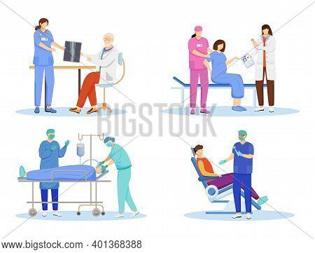 Doctors Flat Vector Illustrations Set. General Practitioners, Therapists, Surgeons Cartoon Character