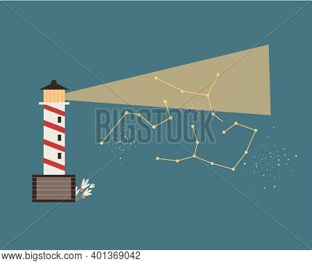 Red And White Lighthouse With Starry Sky. Coastal Tower With A Beam Of Searchlight For Marine Naviga