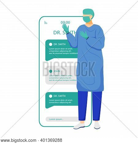 Online Chat With Surgeon Smartphone App Screen. Remote Doctor Consultation. Ask Medical Specialist.