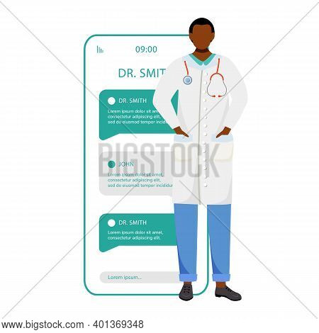 Remote Doctor Consultation Smartphone Vector App Screen. Online Chat With Physician. Mobile Phone Di