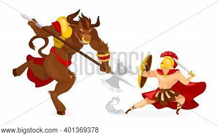 Theseus And Minotaur Flat Vector Illustration. Greek Mythology. Ancient Story And Legend. Hero Fight