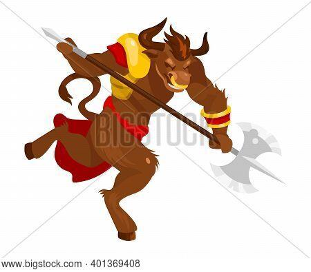 Minotaur Flat Vector Illustration. Mythological Creature With Battleaxe. Fantastical Bull Beast With