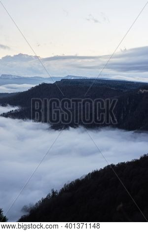 Low Clouds, View Of Winter Forest And Mountains From Observation Deck, Vertical Picture Of Amazing N