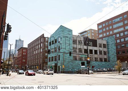 Denver, Colorado - August 4th, 2020: Modern High-rise Buildings In Downtown Denver.
