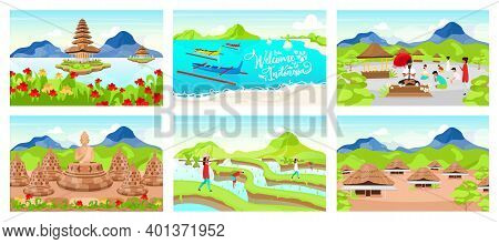 Indonesia Flat Vector Illustrations Set. Indonesian Wooden Houses. Pura Ulun Danu Bratan. Place Of W