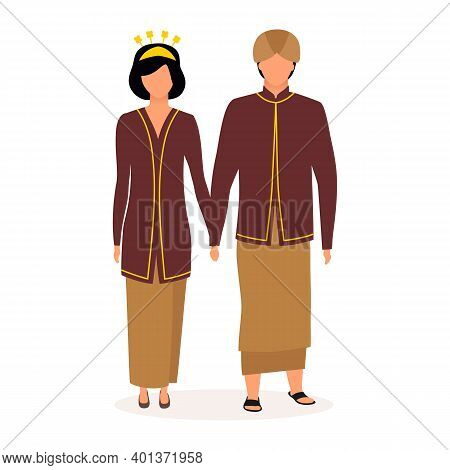 Indonesians Flat Vector Illustration. Couple Holding Hands. Indigenous People. Asian Culture. Adult
